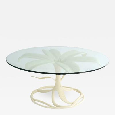 Arthur Court Mid Century White Lacquered Glass Top Cocktail Table by Arthur Court