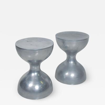 Arthur Court Modern Hourglass Sleek Stools Pedestal or Side Table in Aluminum 1970s