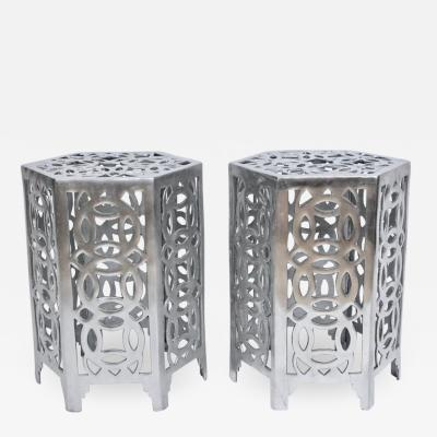 Arthur Court Pair of Arthur Court Style Hexagonal Polished Aluminum Occasional Tables