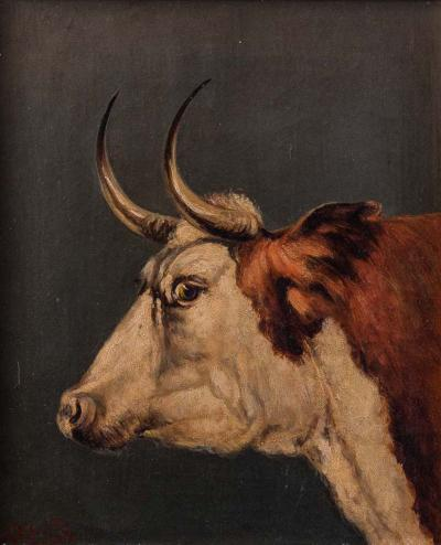 Arthur Fitzwilliam Tait Portrait of a Shorthorn Bull