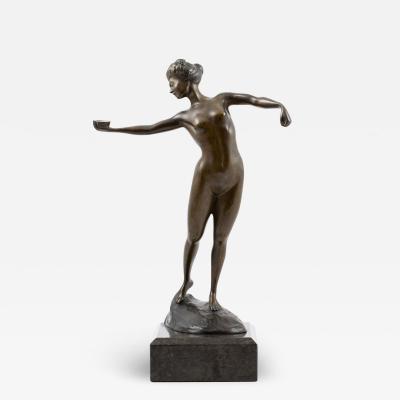 Arthur Immanuel Lowenthal BRONZE SCULPTURE OF A DANCING FEMALE NUDE ARTHUR I LOWENTHAL