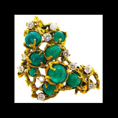 Arthur King Arthur King Emerald Pendant Brooch c 1970