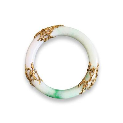 Arthur King Arthur King Jade and Gold Bangle Bracelet
