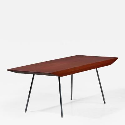 Arthur L Lindauer Pine and aluminum rectangular coffee table by Arthur Lindauer