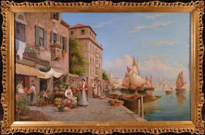 Arthur Trevor Haddon St Marks from the Giudecca Very Large 19th Century Venice Oil Painting