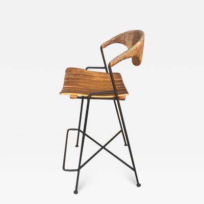 Arthur Umanoff Arthur Umanoff Iron Wood Wicker Counter Bar Stool 1950s Midcentury Modern
