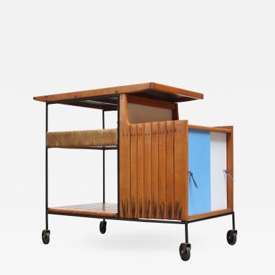 Arthur Umanoff Arthur Umanoff Maple and Wrought Iron Bar Cart