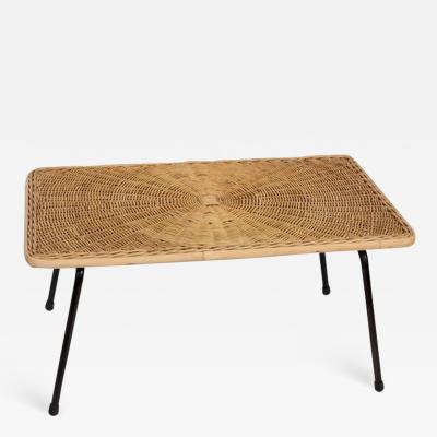 Arthur Umanoff Arthur Umanoff Woven Rattan Black Wrought Iron Coffee Table 1950s