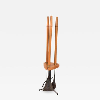 Arthur Umanoff Mid Century Modern Fire tool Set Maple Iron After Arthur Umanoff