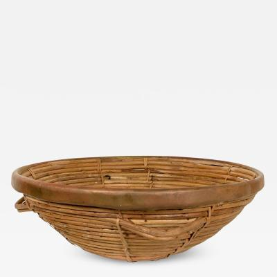Arthur Umanoff Mid Century Modern Weaved Basket with Brass Accents After Arthur Umanoff