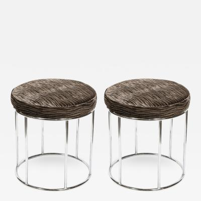 Arthur Umanoff Midcentury Chrome and Smoked Bronze Gauffraged Velvet Stools by Arthur Umanoff