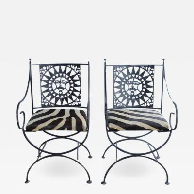Arthur Umanoff Midcentury Wrought Iron and Cowhide Sunburst Armchairs by Arthur Umanoff