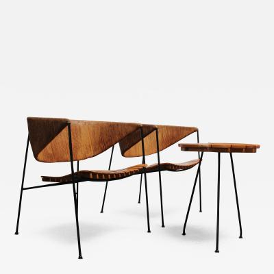 Arthur Umanoff Pair of Arthur Umanoff for Shaver Howard Modernist Lounge Chairs with Side Table