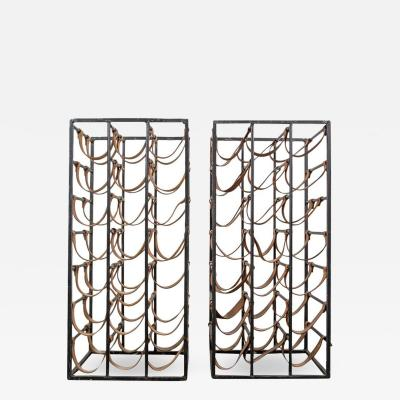 Arthur Umanoff Pair of Iron and Leather Wine Racks by Arthur Umanoff 1950s