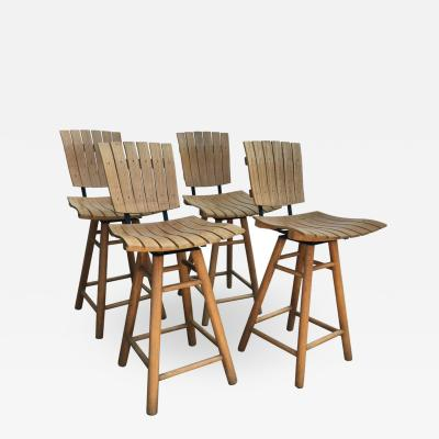 Arthur Umanoff Set of 4 Swivel Bar Stools in the Manner of Arthur Umanoff
