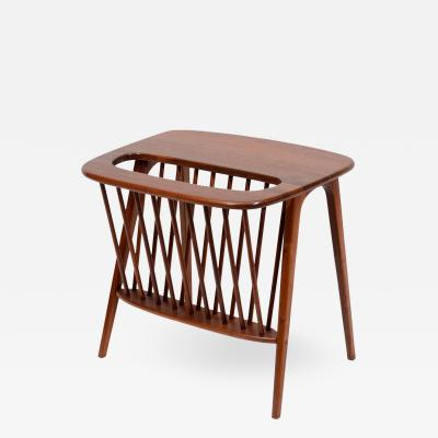 Arthur Umanoff Walnut Side Table with Magazine Rack by Arthur Umanoff