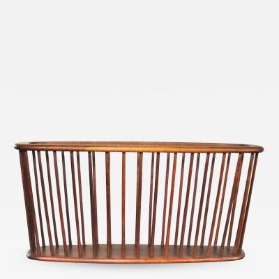 Arthur Umanoff Walnut oval magazine rack attributed to arthur umanoff for washington woodcraft