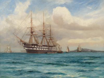Arthur Wilde Parsons HMS Ganges Anchored off Falmouth Cornwall