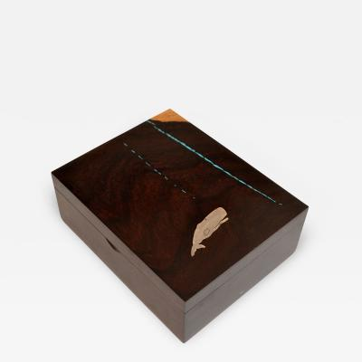 Artisan Box of Exotic Wood Turquoise and Silver by Larry Favorite