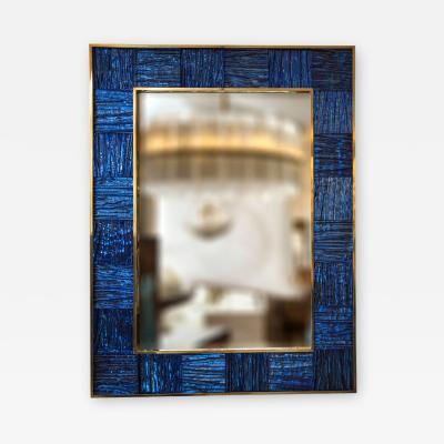 Artisan Brass Blown Klein Blue Wave Mirror