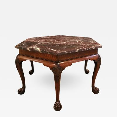 Artisan Crafted Claw Foot Table with Marble Top 19th Century