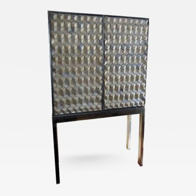 Artisan Crafted Iron Framed Ceramic Three Dimensional Design Cabinet on Stand
