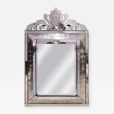 Artisan French Mirror With Reverse Etched Design 1950s