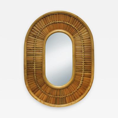Artisan Racetrack Mirror in Rattan and Bamboo 1970s