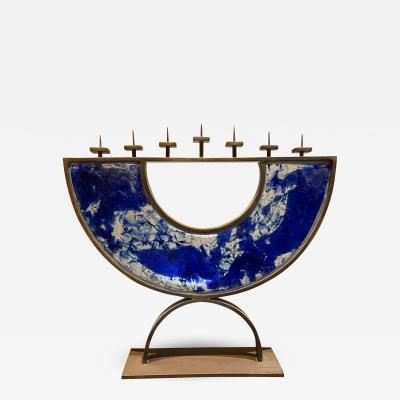 Artist made Menorah Arc Sculpture 7 Candle Cobalt Blue Sea Fused Glass Bronze