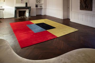 Artistic rug by contemporary artist Ellen Richman Red and Yellow