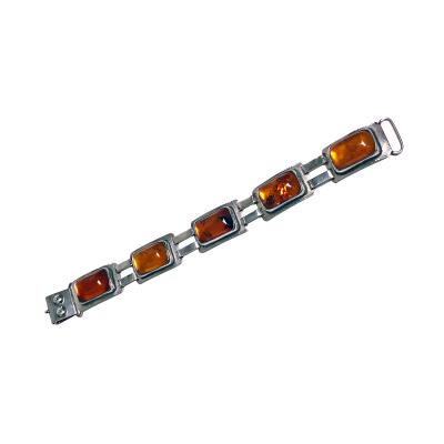 Arts and Crafts Amber and Silver Bracelet George Kramer Germany C 1920