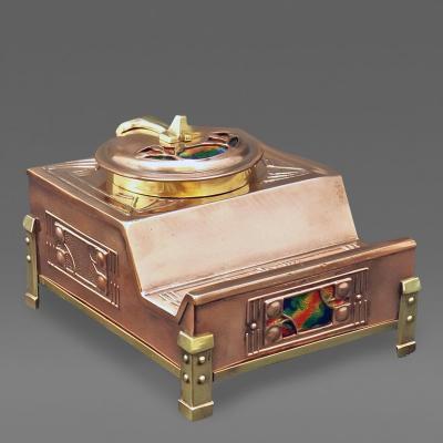 Arts and Crafts Enamel Copper and Brass Inkstand probably English C 1900