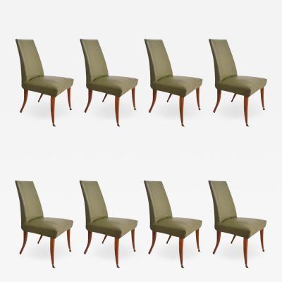 Arturo Pani 1950s Arturo Pani Stylish Set of 8 Flared Leg Dining Chairs in Mahogany Brass