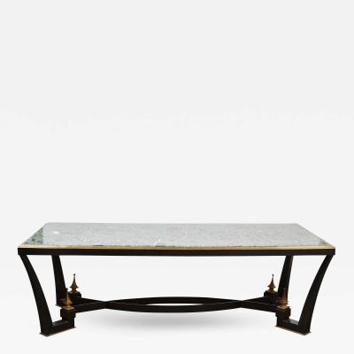 Arturo Pani 1960 s Mexican Modern Iron Dining Table with a Green Marble Top by Arturo Pani