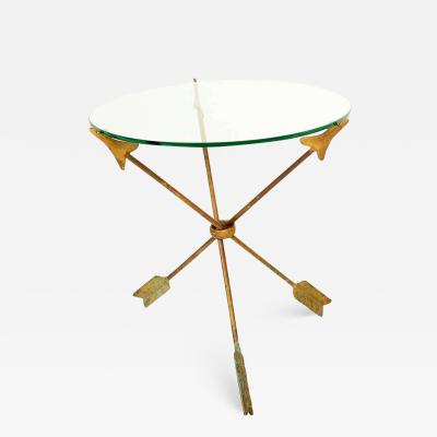 Arturo Pani Amazing Arturo PANI Bronze Arrows Martini Side TRIPOD Table Glass Top 1940s