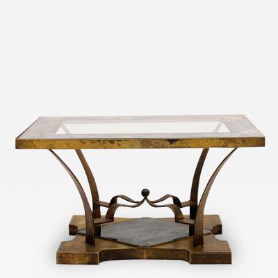 Arturo Pani Arturo Pani Side Table Eglomis Glass Bronze 1950s Elegant Flair