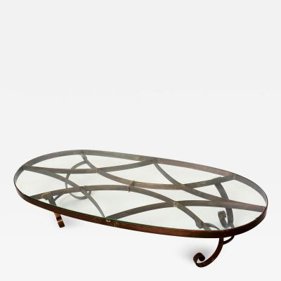 Arturo Pani Arturo Pani Style Oval Brass Coffee Table Mexican Modernism 1940s