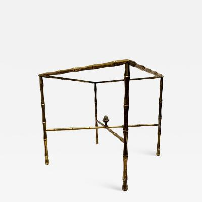 Arturo Pani Custom Hollywood Faux Bamboo Brass Side Table by Arturo Pani