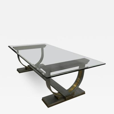 Arturo Pani Dramatic Dining Table Mixed Metal Steel Bronze by Arturo Pani Mexico 1960s