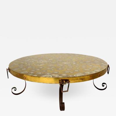 Arturo Pani Elegant Modern Vintage Round Brass Eglomise COCKTAIL Table Arturo Pani 1950s