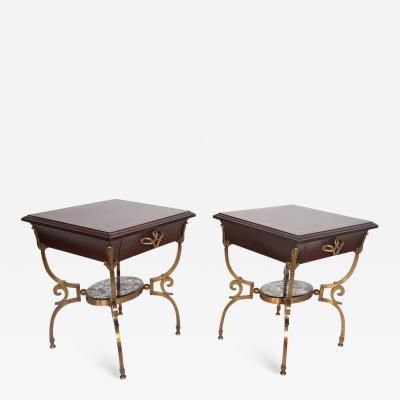 Arturo Pani Fabulous French Side Tables Eglomise Bronze Mahogany Nightstands Arturo Pani