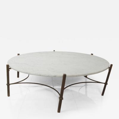 Arturo Pani Marble Coffee Table in Bronze Hexagon Swirl Base by Arturo Pani Mexico