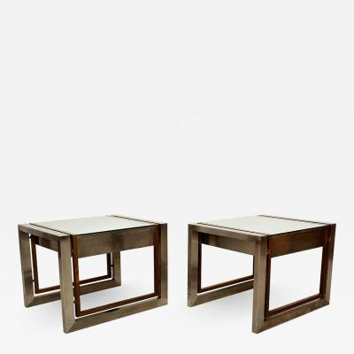 Arturo Pani Mexican Modern Stainless Brass Side Tables 1960s