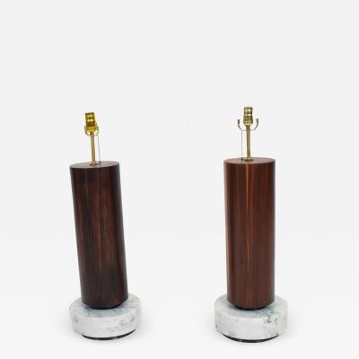Arturo Pani Mexican Modernism Tall Cylinder Table Lamps Marble Rosewood 1960s Mexico City