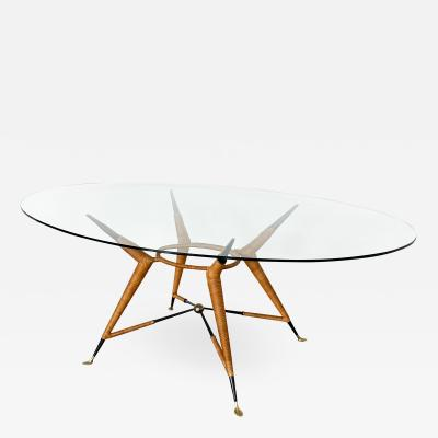 Arturo Pani Mexican Modernist Dining Table with Oval Glass Top