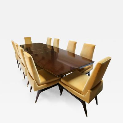 Arturo Pani Mid century 1960s Mahogany Dining Table Chairs by Arturo Pani with Brass Inlay