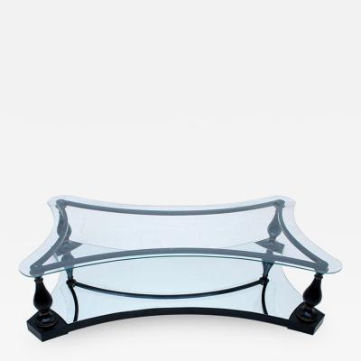 Arturo Pani Midcentury Neoclassical Black Iron Brass and Glass Coffee Table by Arturo Pani