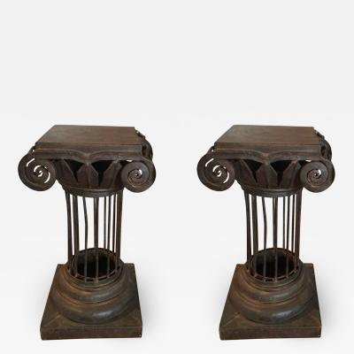 Arturo Pani Pair of Wrought Iron Arturo Pani Column Martini Cigar Tables