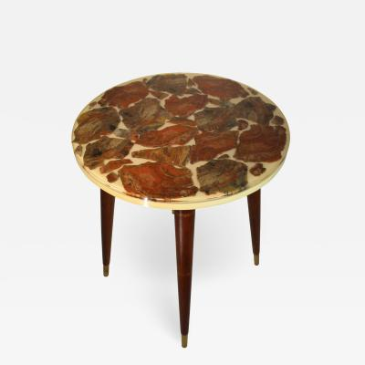 Arturo Pani Possibly Mid CenturyFossilized Marble Round Side Table