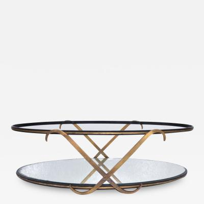 Arturo Pani Regency Glamour Mirrored Oval Coffee Table Two Tier X Arturo Pani MEXICO 1950s